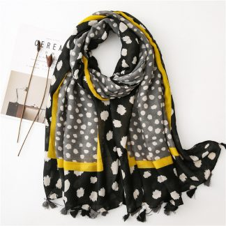 Nia Spot Print Scarf Black/Yellow