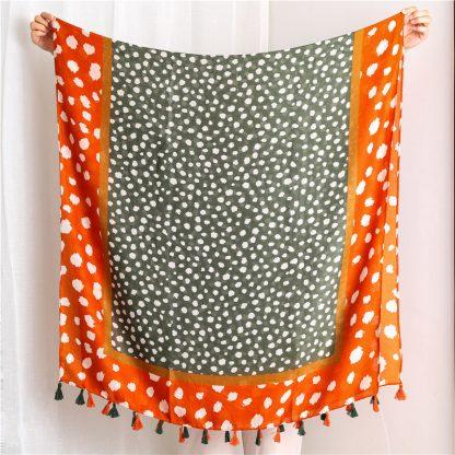 Nia Spot Print Scarf Khaki/Orange