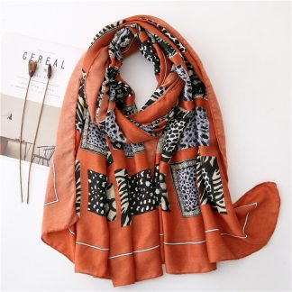 Zena Animal Print Scarf Orange