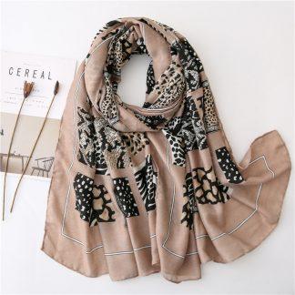 Zena Animal Print Scarf Brown