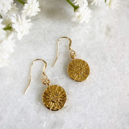 Cyrus Smiling Gold Sun Earrings