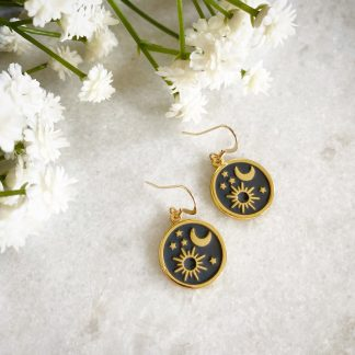 Elara Sun Moon and Star Earrings