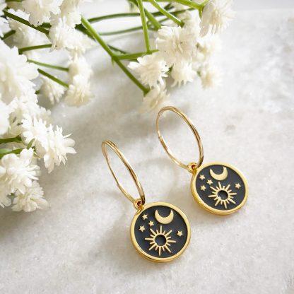 Elara Sun, Moon and Star Hoop Earrings