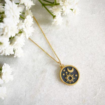 Elara Sun Moon and Stars Necklace