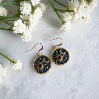 Elara Sun Moon and Star Earrings