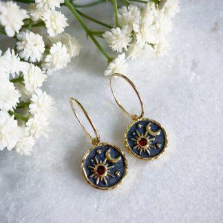 Elara Sun Moon and Star Hoop Earrings