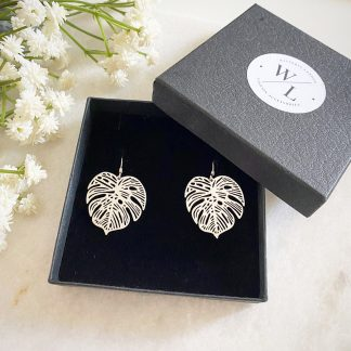 Silver Monstera Drop Earrings