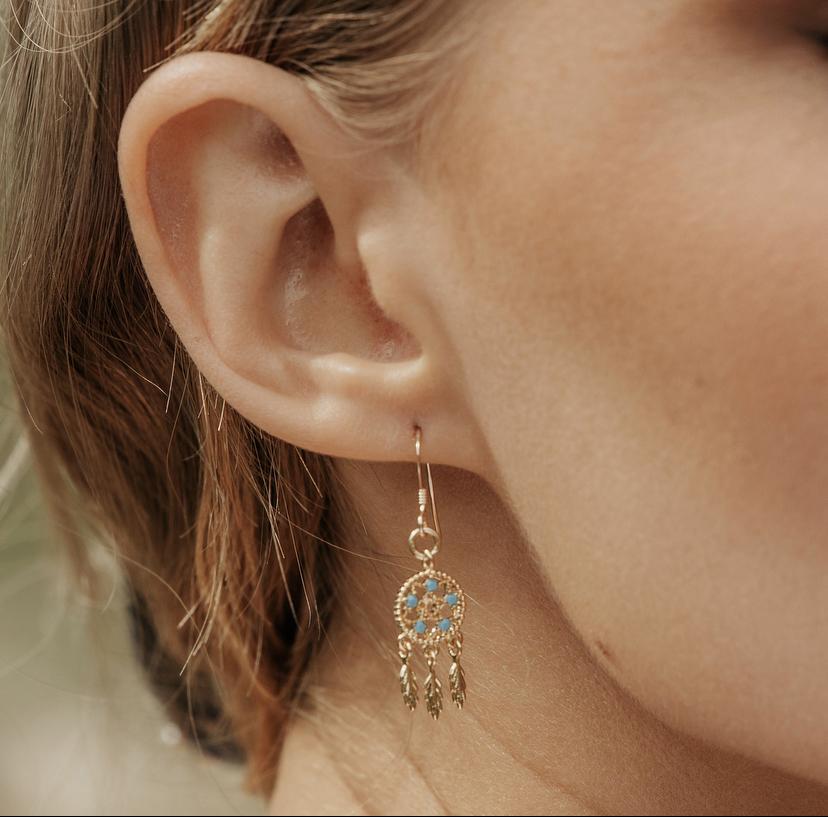 Dainty Gold Dreamcatcher Earrings