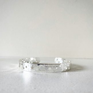 Moon and Star Silver Bangle