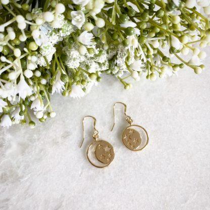 Este Gold Moon and Star Earrings