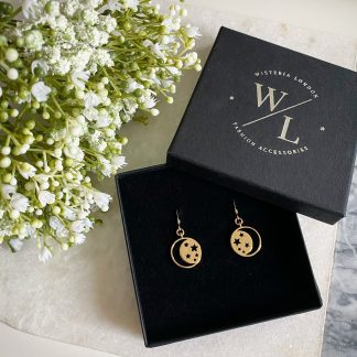 Este Gold Moon and Star Earrings