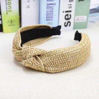 Beige Woven Twist Headband