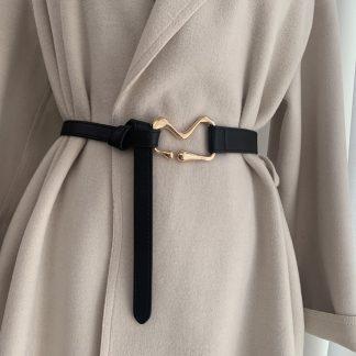 Black Geometric Knotted Waist Belt