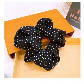 Polka Dot Scrunchie Black