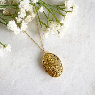 Blossom Flower Gold Oval Locket