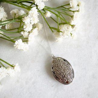 Blossom Flower Silver Oval Locket