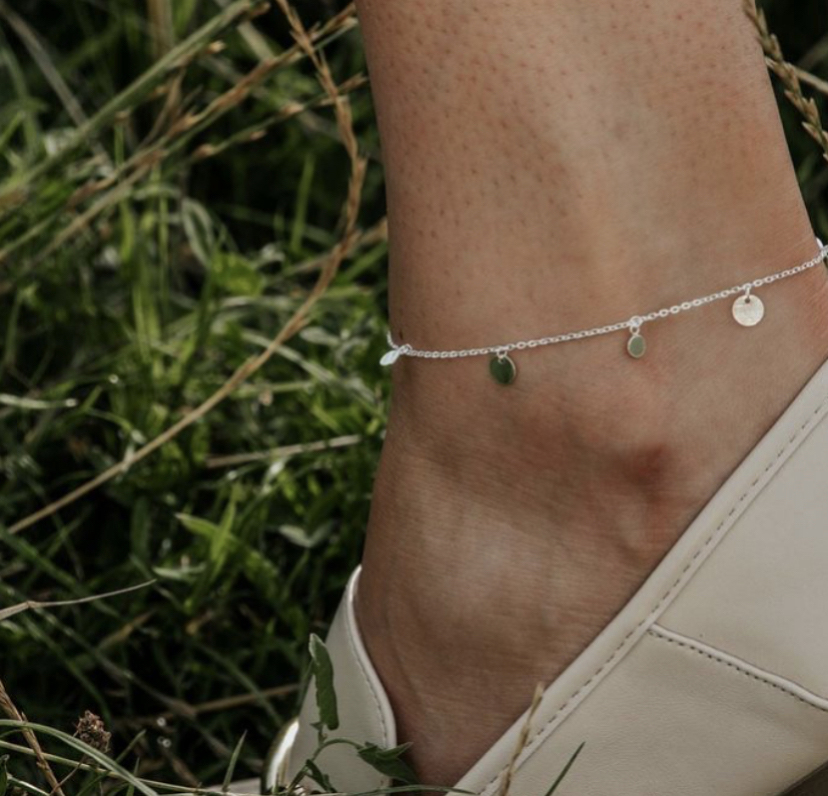 Sterling Silver Mini Disc Anklet