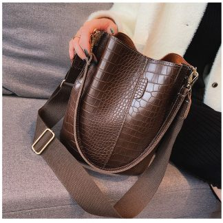 Houston Brown Croc Bucket Bag