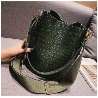 Houston Green Croc Bucket Bag