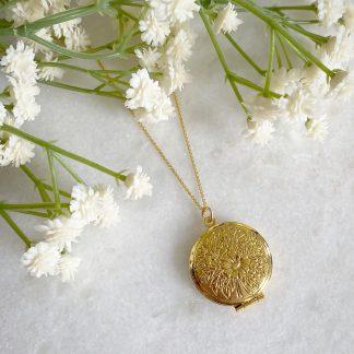 Laurel Flower Gold Locket
