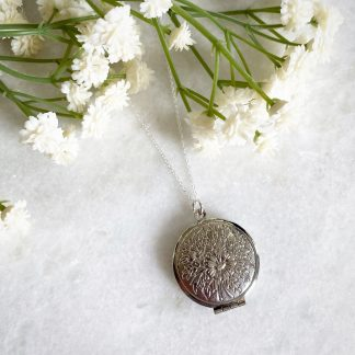 Laurel Flower Silver Locket
