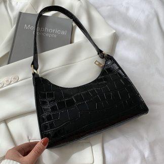 Maddie Black Croc Effect Baguette Bag