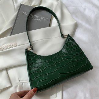 Maddie Green Croc Effect Baguette Bag