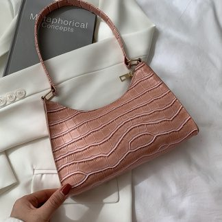 Maddie Pink Croc Effect Baguette Bag