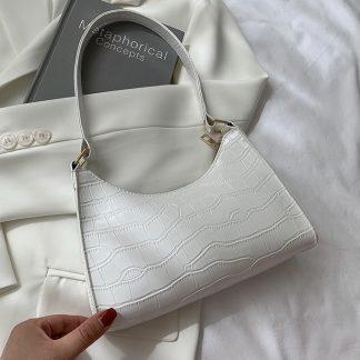 Maddie White Croc Effect Baguette Bag