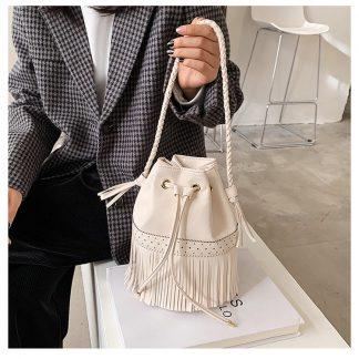 Nevada White Tassel Bucket Bag