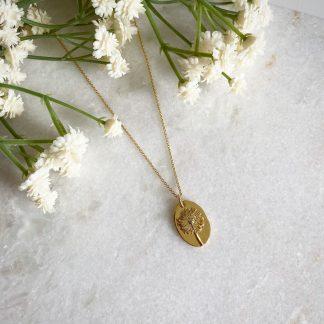 Gold Oval Dandelion Necklace