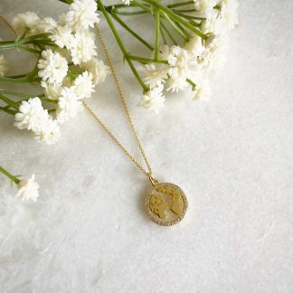 Gold World Map CZ Necklace